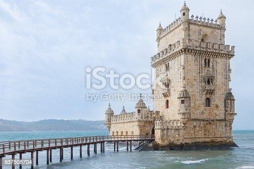 Torre de Belem in a stormy day Lisbon, Portugal