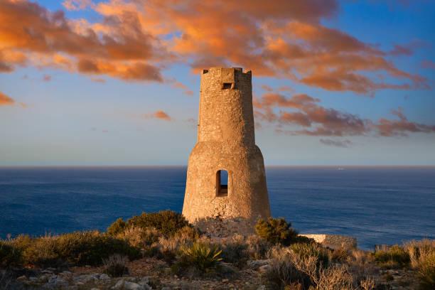 Torre del Gerro tower in Denia of Alicante stock photo