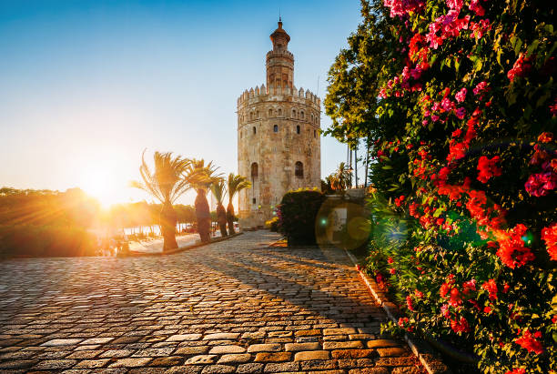 Torre del Oro, Seville, Spain Seville, Spain - July 14th, 2018: Torre del Oro, meaning Golden Tower, in Seville, Spain is an Albarrana Tower located on the left bank of the Guadalquivir River seville stock pictures, royalty-free photos & images