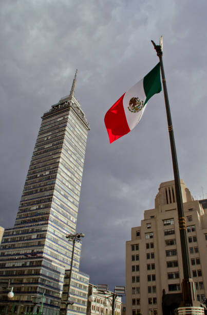 """""""Torre Latinoamericana"""" and mexican flag stock photo"""