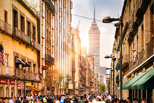 Torre Latinoamericana in Central Mexico City stock photo