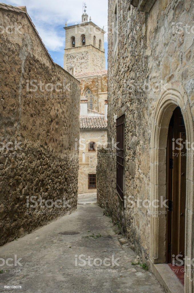Torre Nueva of Church of Santa Maria la Mayor, Trujillo, Spain stock photo