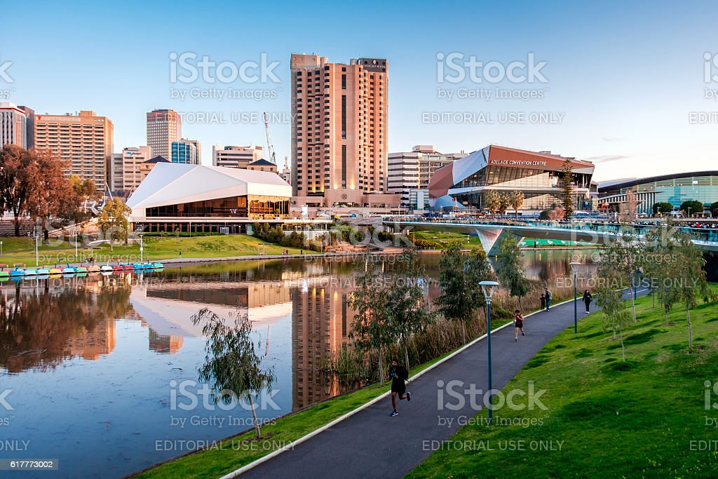 Torrens river bank in Adelaide stock photo