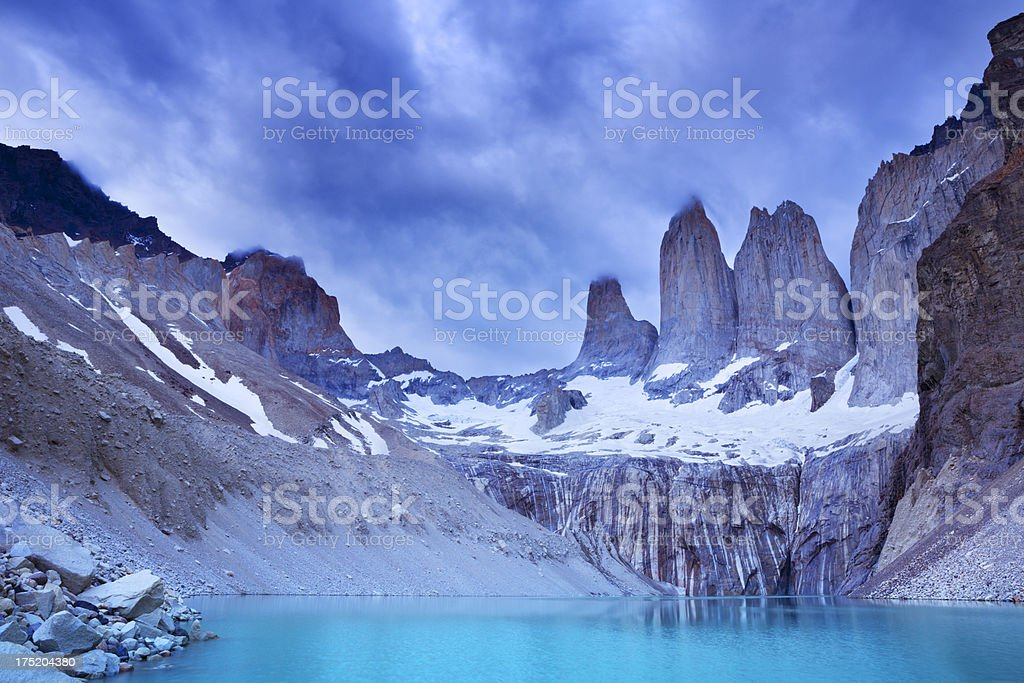 Torres and Lago Torre in Torres del Paine, Patagonia, Chile stock photo