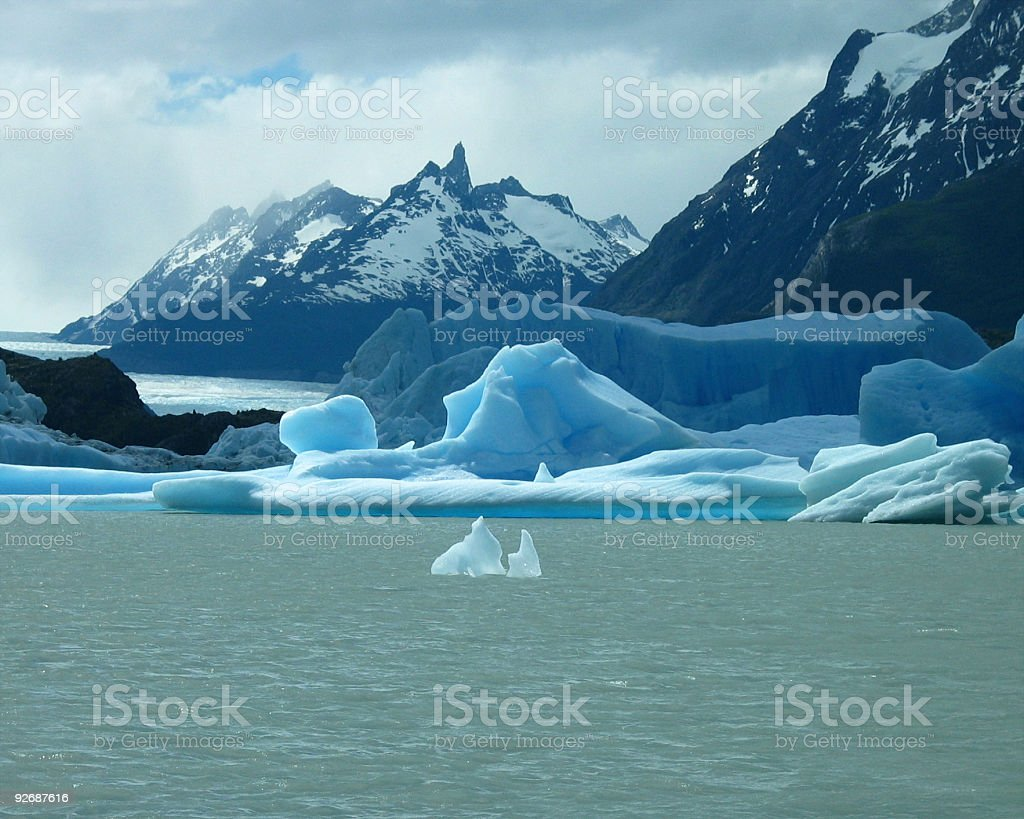 Torres del Paine and Grey Glacier royalty-free stock photo