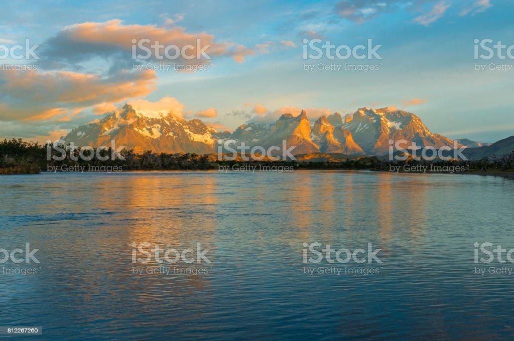 Torres del Paine at Sunrise stock photo