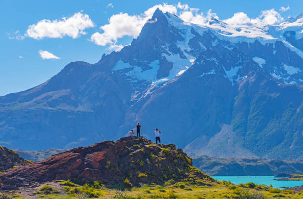 Torres del Paine Hiking, Patagonia, Chile stock photo