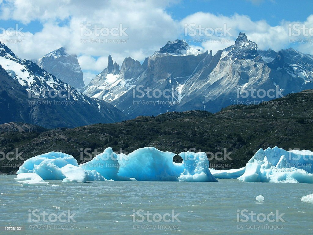 Torres del Paine Icebergs on Grey Lake, Chile stock photo