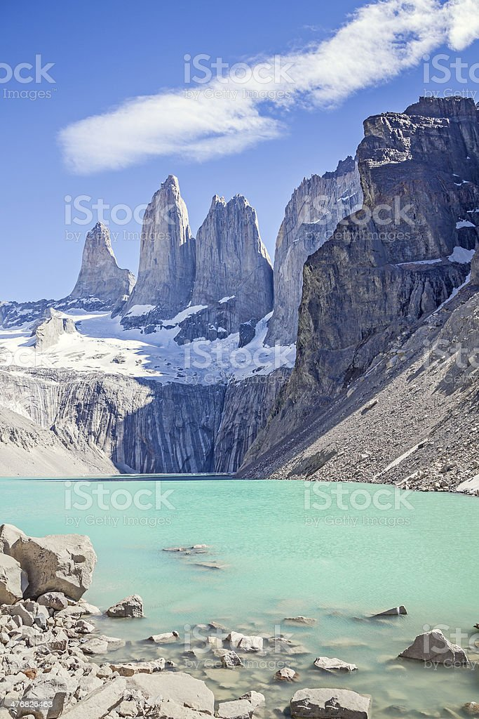 Torres del Paine mountains and lake. stock photo