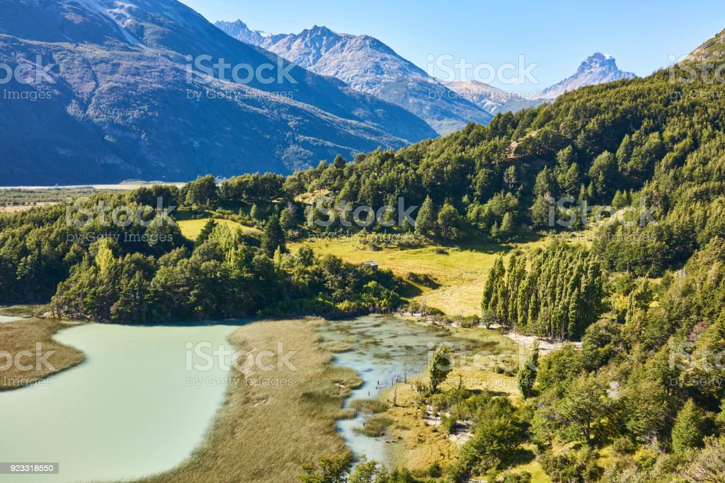 Torres del Paine National Park Landscape Panorama stock photo