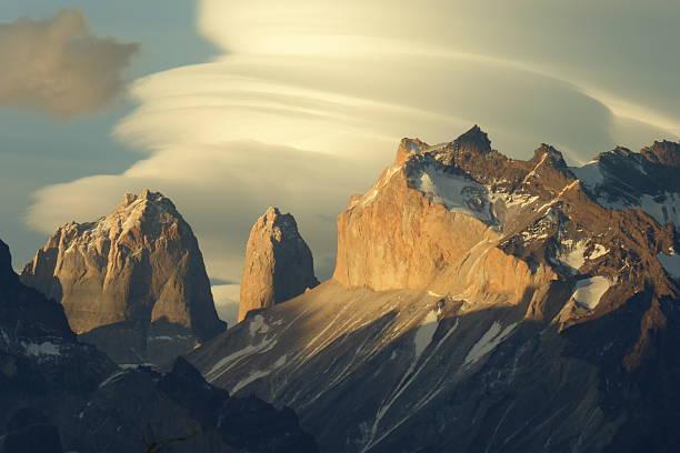 torres del paine national park  - lenticular stock-fotos und bilder