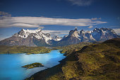 The mountainous landscape of the amazing Torres del Paine which borders both Chile and Argentinia in Patagonia