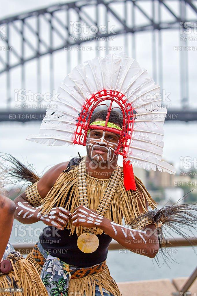 Torres Strait Tänzer bei entliehene Grafikelemente einheimische Festival in Sydney – Foto