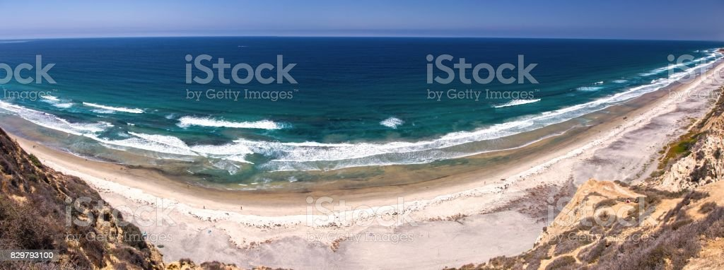 Torrey Pines Beach Panorama stock photo