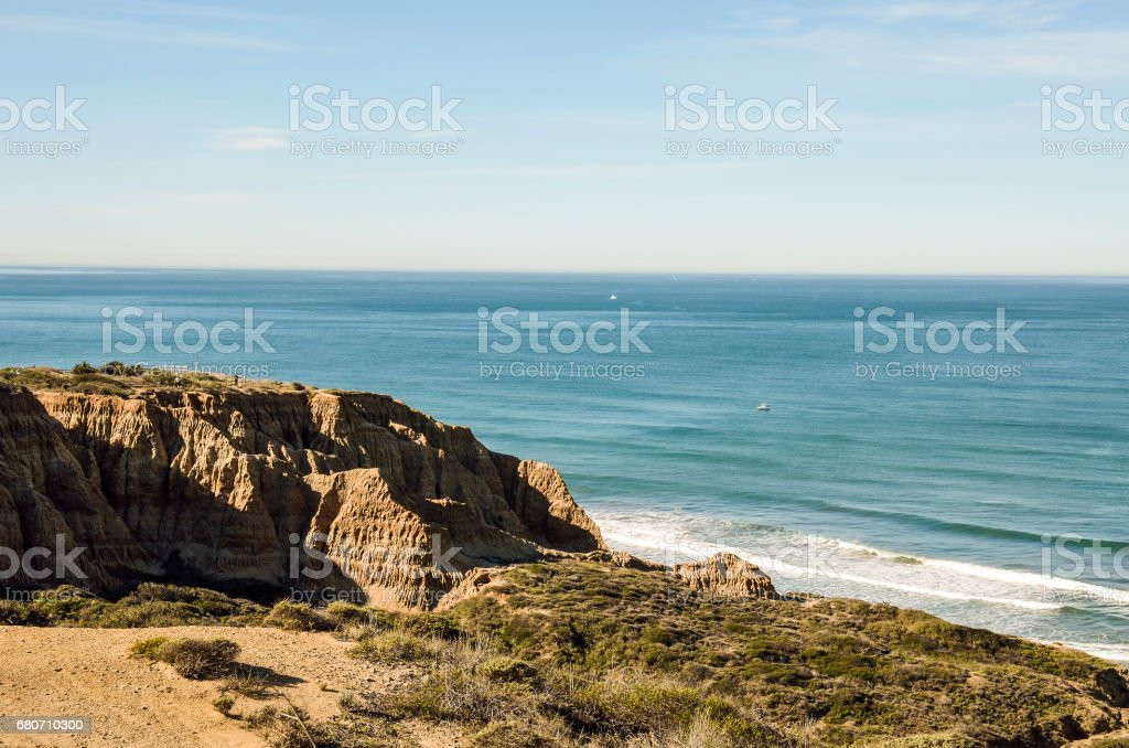 Torrey Pines cliff in pacific ocean in San Diego California with trail stock photo