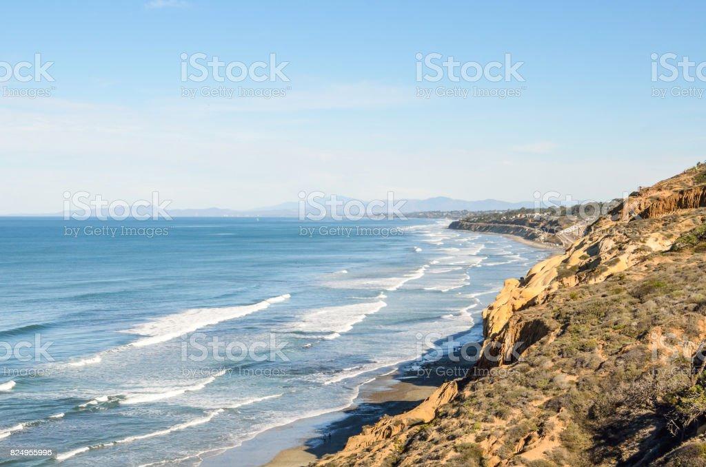 Torrey Pines cliff in pacific ocean in San Diego California with ocean waves stock photo