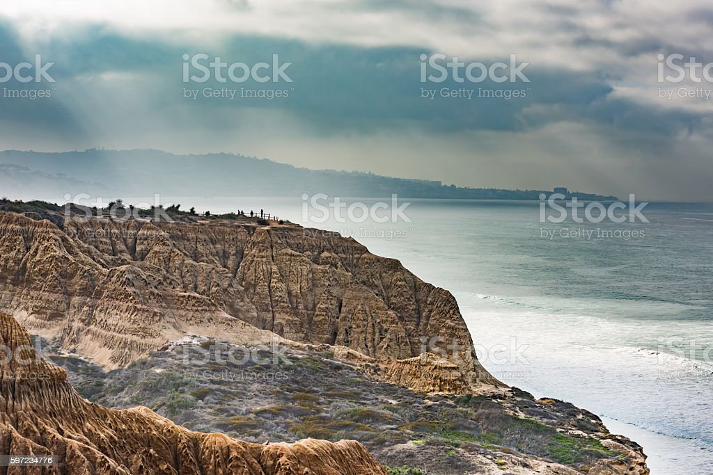 Torrey Pines cliff in San Diego California cloudy stock photo