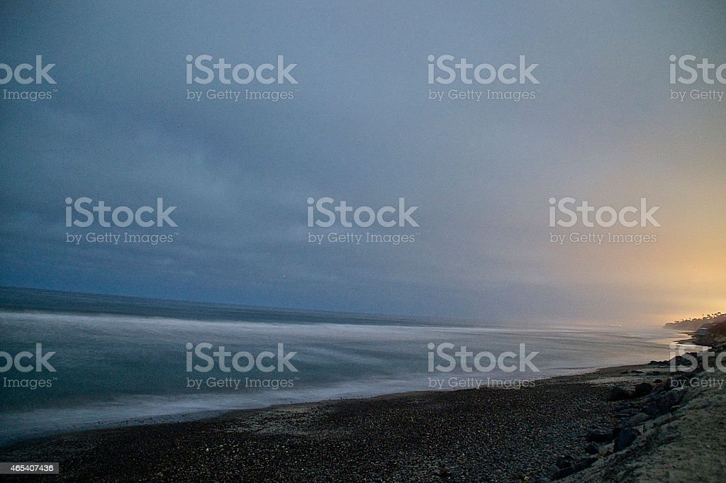 Torrey Pines Night Ocean stock photo