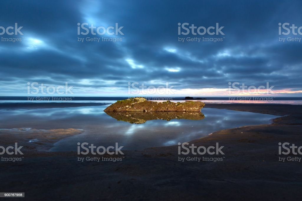 Torrey Pines State Beach and Pacific Ocean Night Landscape stock photo