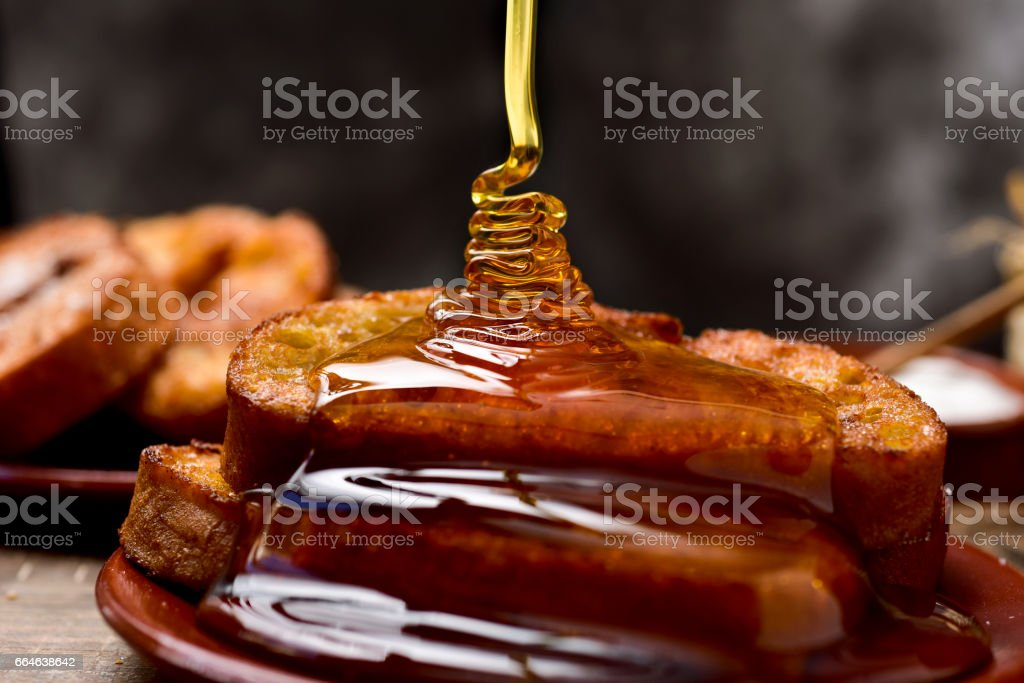 torrijas, typical spanish dessert for Lent and Easter stock photo