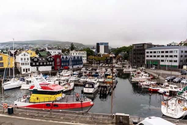 Torshavn harbor panorama full of different boats. stock photo
