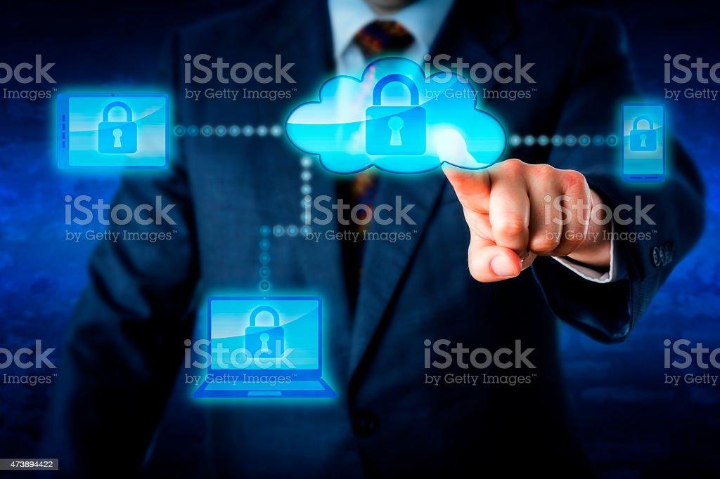 Torso Locking Mobile Devices Via A Cloud Network stock photo