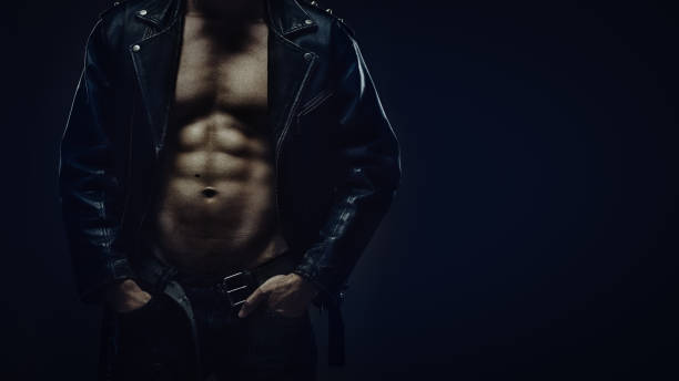 torso of athletic man in leather jacket - naked santa claus stock pictures, royalty-free photos & images