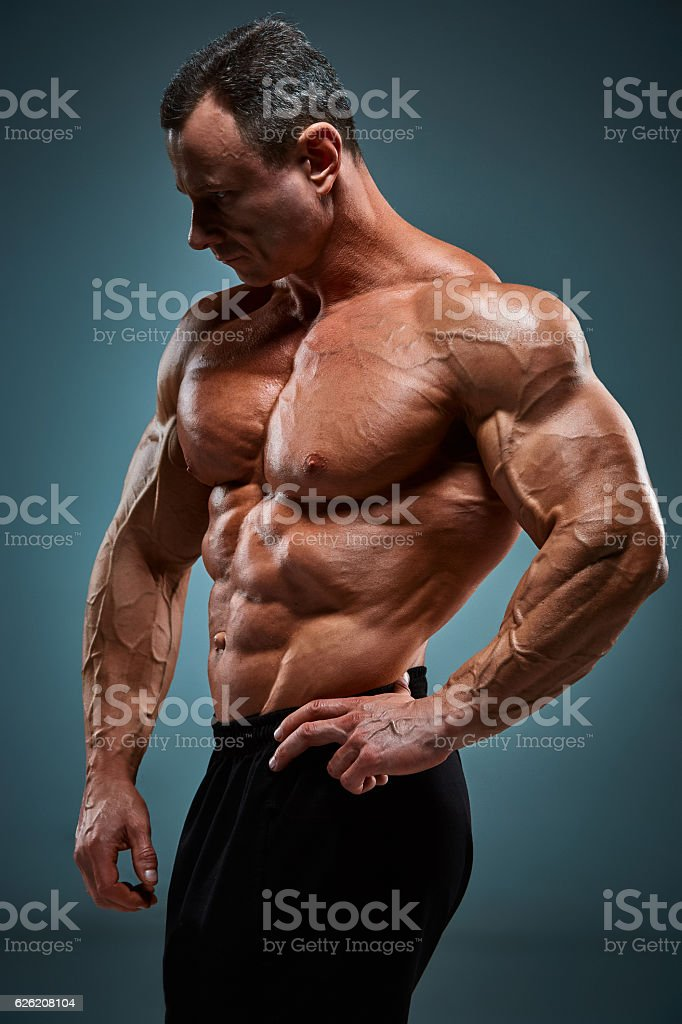 torso of attractive male body builder on gray background. stock photo