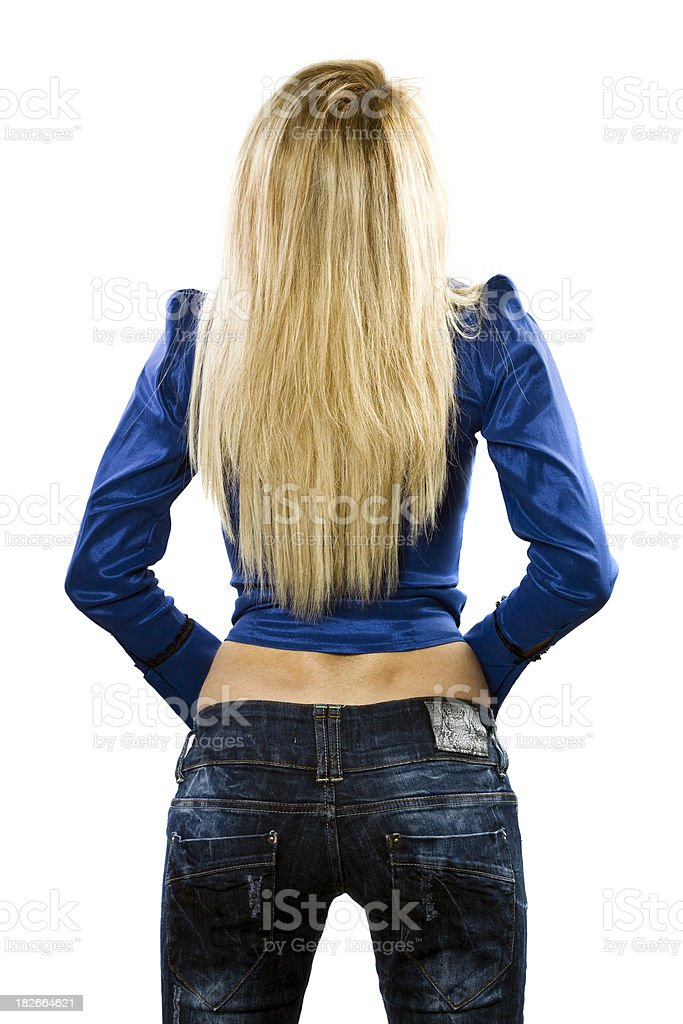 Torso of girl in blue jeans royalty-free stock photo