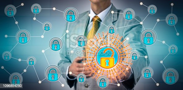 488497362istockphoto Torso Of Manager Opening One Lock In Network 1096854250