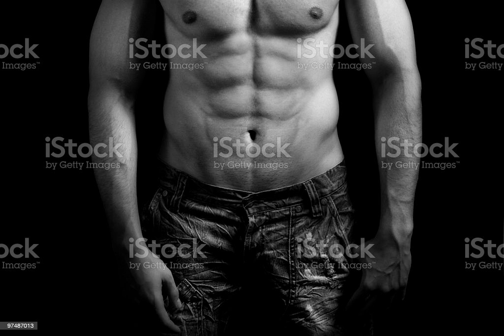 Torso of muscular man with sexy abdomen royalty-free stock photo
