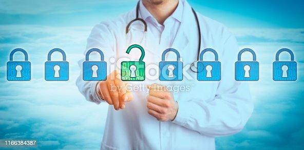 488497362istockphoto Torso Of Young Doctor Unlocking Virtual Lock 1166384387