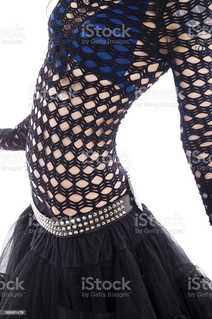 Torso of young woman dancing in mesh shirt. stock photo