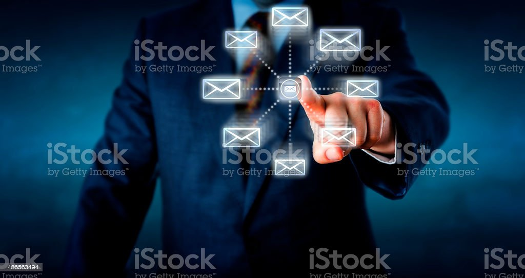 Torso Sending Emails By Touching A Computer Key stock photo