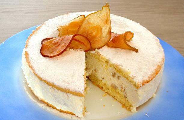 torta ricotta e pere - ricotta stock-fotos und bilder