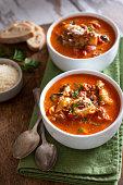 Bowls of Fresh Tortellini Soup
