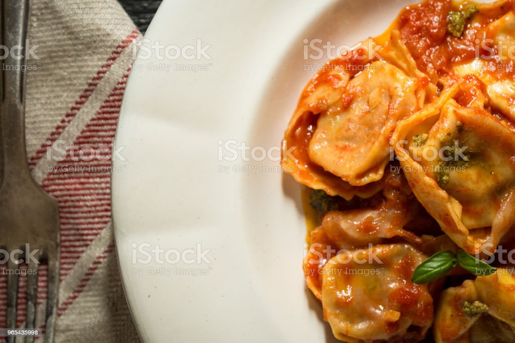Tortellini with Homemade Tomato Sauce and Mozzarella Cheese zbiór zdjęć royalty-free