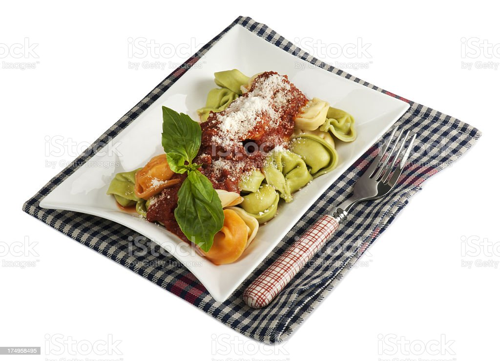 Tortellini with Tomato Sauce stock photo