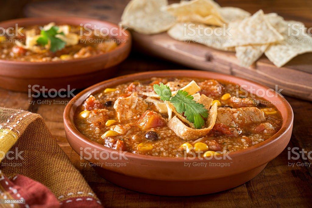 Tortilla Chicken Soup stock photo