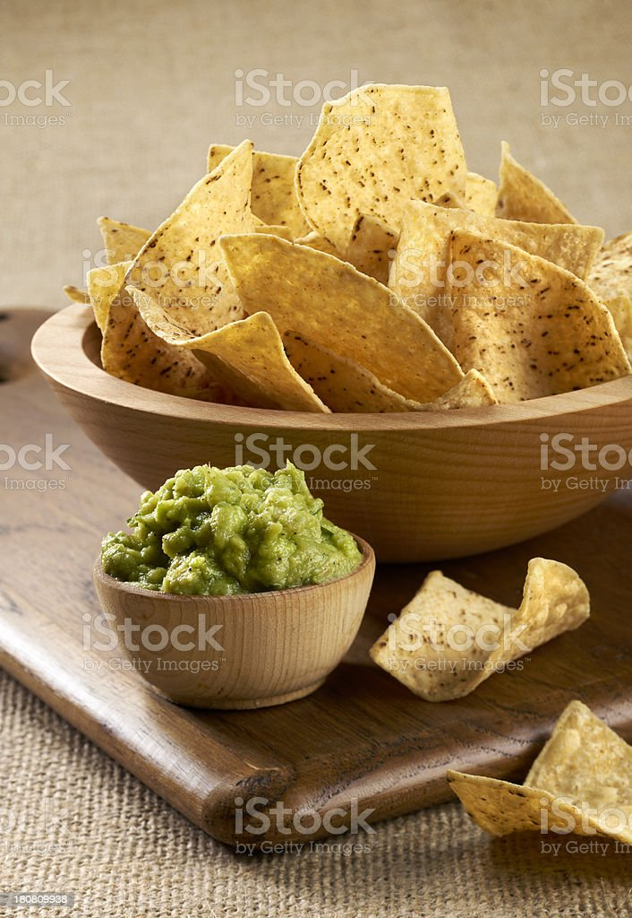 Tortilla Chips and guacamole stock photo