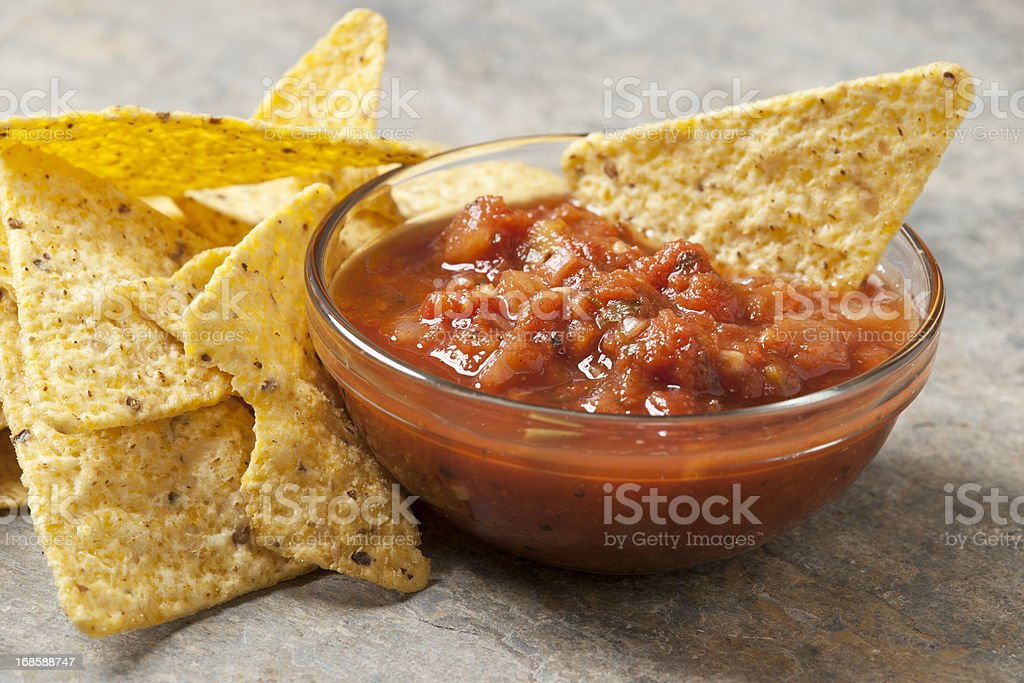 Tortilla Chips and Salsa stock photo