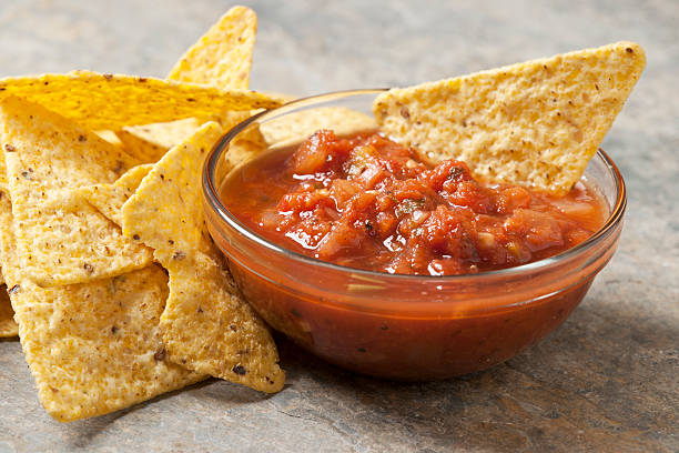 Tortilla Chips and Salsa Tortilla Chips and Salsa salsa sauce stock pictures, royalty-free photos & images