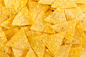 istock Tortilla chips, close-up. Mexican food. Top view, flat lay, overhead. 1018997406