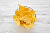 istock Tortilla chips in a bowl on white wooden table, overhead view. Mexican food. 1020181772