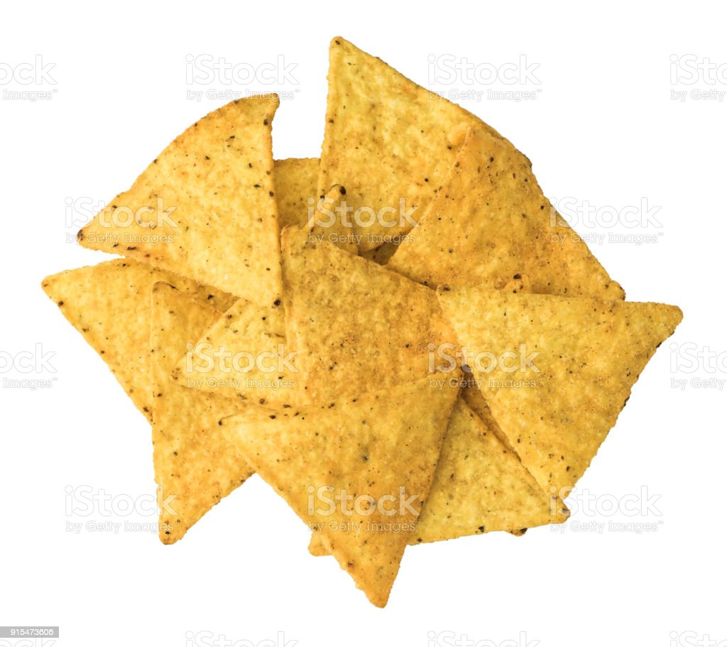 Tortilla Chips on White Background stock photo