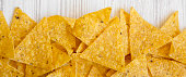 istock Tortilla chips on white wooden surface, top view. Mexican food. 1082350106