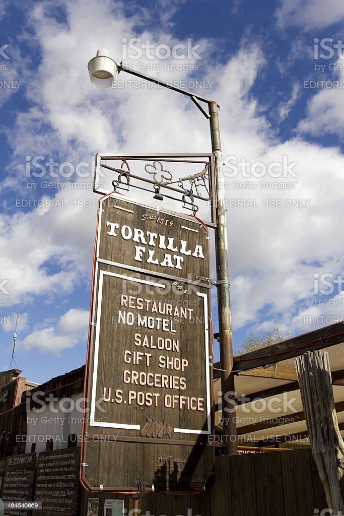 Tortilla Flat Sign stock photo
