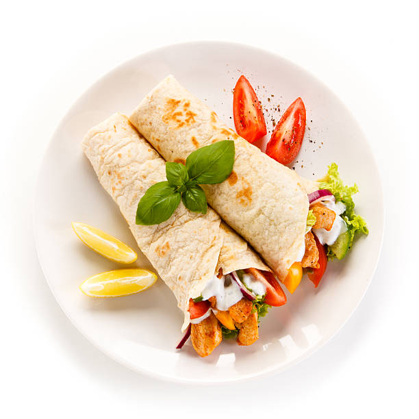 Tortilla Grilled meat and vegetables main course stock pictures, royalty-free photos & images