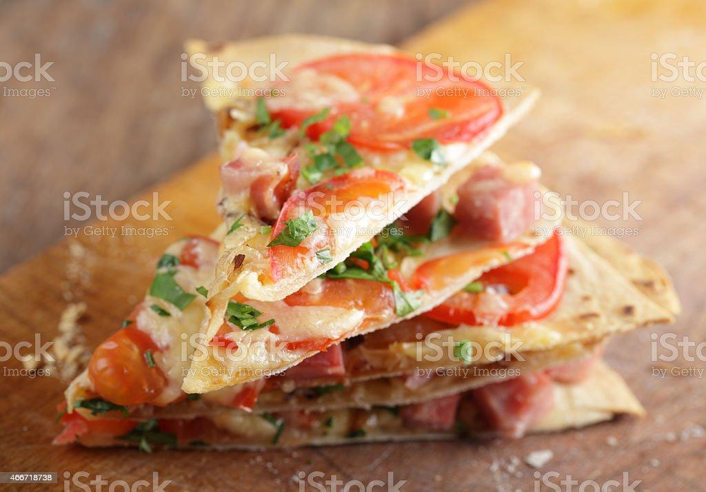 Tortilla pizza stock photo