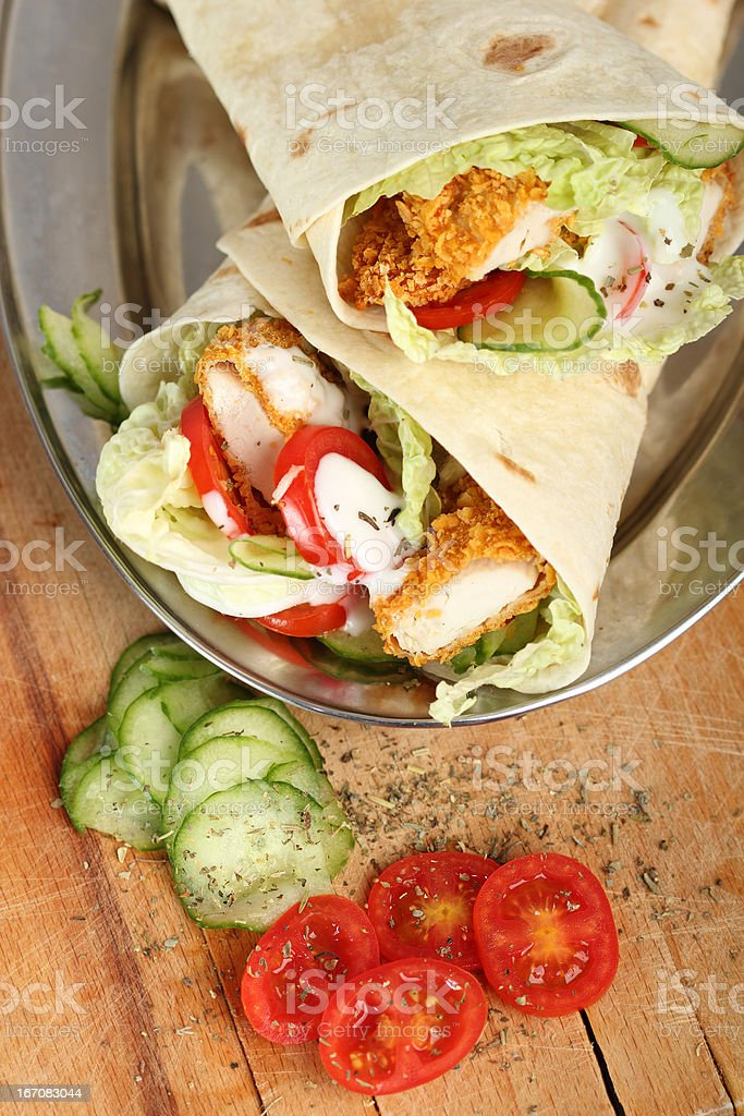 Tortilla with Chicken Nuggets stock photo